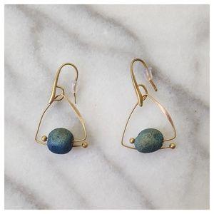 Jewelry - Geometric Blue Stone Drop Earrings